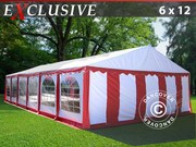 Marquee 6x12 m PVC Red/white