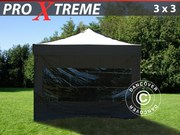 FleXtents Pro Xtreme 3x3 m,  3 panoramic + 1 zip sidewall,  black