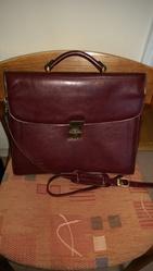 Briefcase,   leather. Dark brown.  Texier brand.